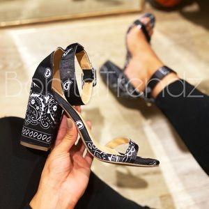 FINAL PRICE Black Satin Bandana High Heels